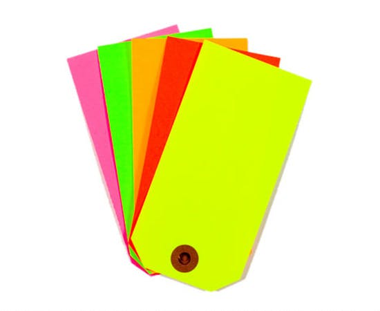 Fluorescent Tags Name tag sold by Ameripak, Inc.