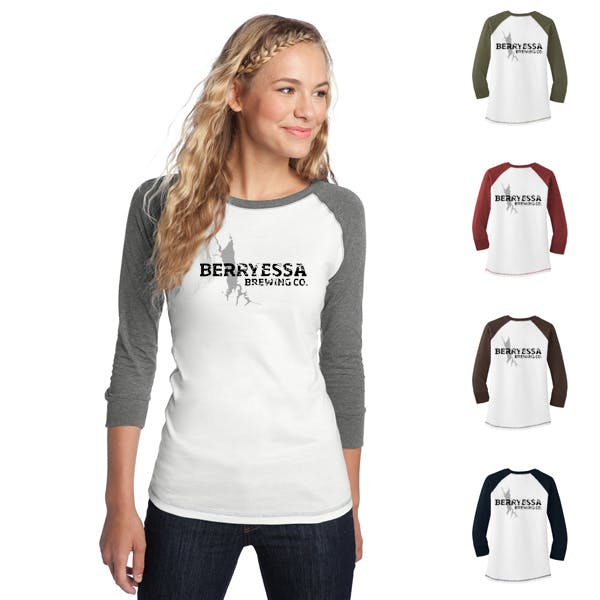 Juniors 3/4-Sleeve Cotton Raglan Tee Promotional shirt sold by MicrobrewMarketing.com
