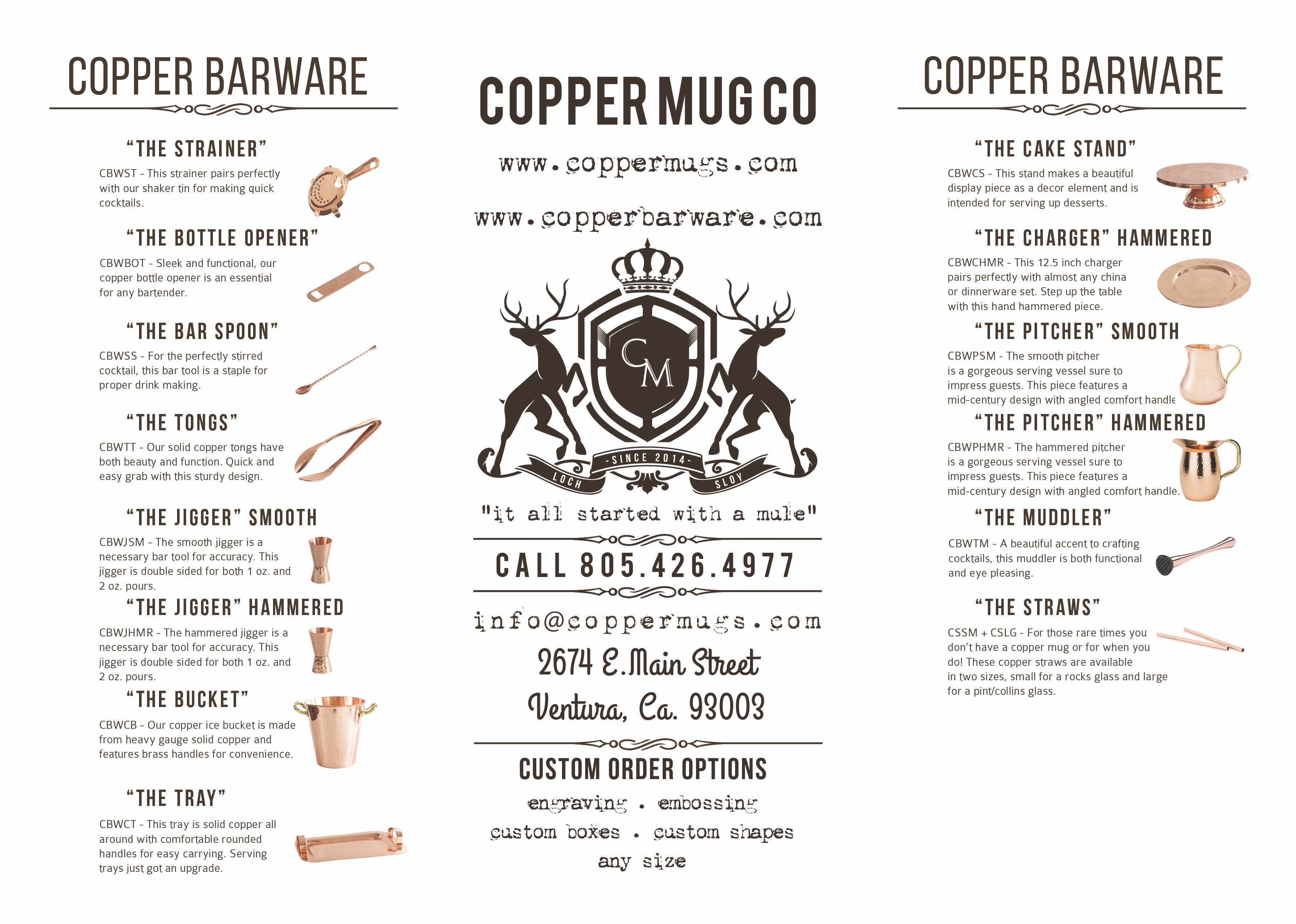 Product Brochure Copper mug sold by Copper Mug Co.