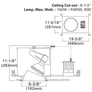 "6"" Incandescent Vertical Recessed Light Frame-in kit - sold by RelightDepot.com"