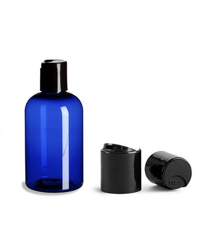 4 oz Cobalt Blue PET Boston Round Plastic Bottle w/ Black Disc Cap Plastic bottle sold by PremiumVials