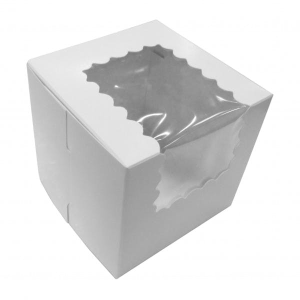 White Cardboard Single Cupcake Box w/ Window