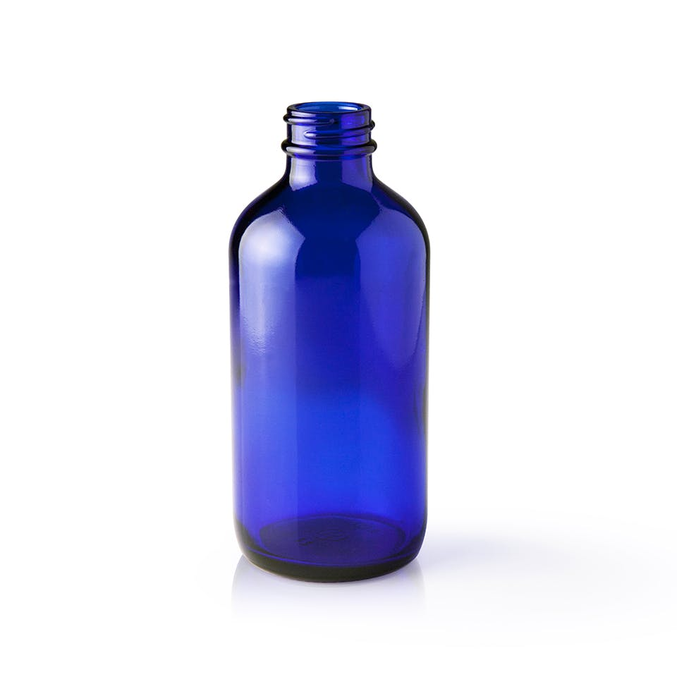 8 oz Cobalt Blue Glass Boston Round Bottle Glass bottle sold by Packaging Options Direct