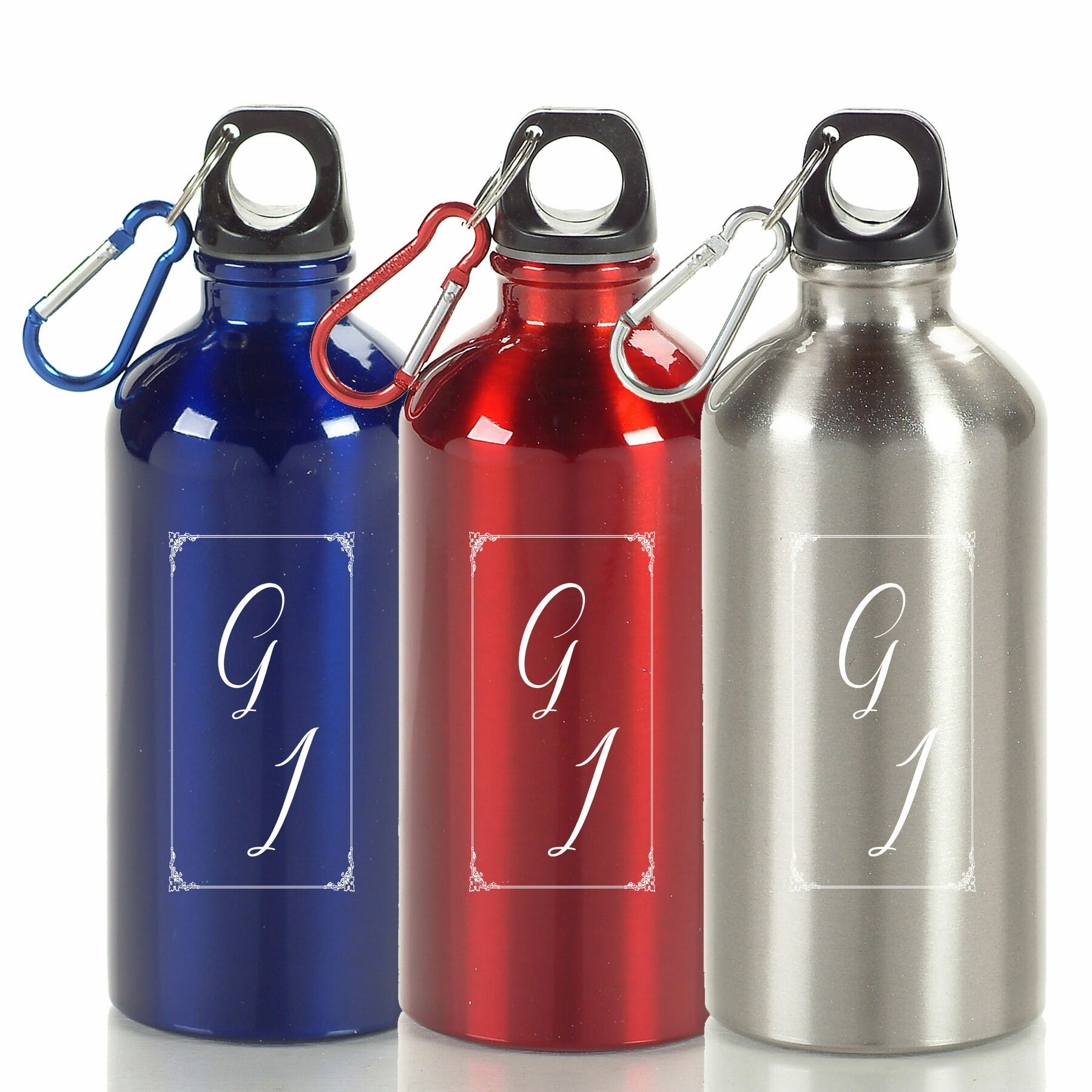17 Oz. Stainless Steel Bottle with Carabiner (Item # AFNON-HWNYG) Promotional water bottle sold by InkEasy