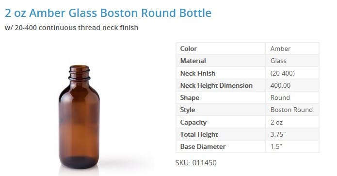 2 oz. Amber Boston Round Bottles Glass bottle sold by Packaging Options Direct