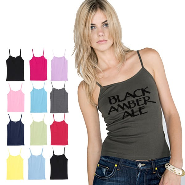 Bella Ladies Baby Rib Spaghetti Strap Tank Promotional shirt sold by MicrobrewMarketing.com