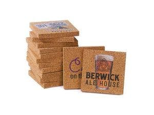 "4""x 4"" 1/2"" Thick Solid Cork Coaster - Square Drink coaster sold by Ink Splash Promos, LLC"