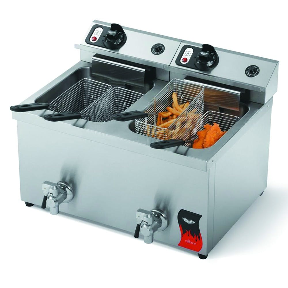 Vollrath 40710 Cayenne Madium Duty Commercial Countertop Fryer - Two 15 Lb Wells Commercial fryer sold by Mission Restaurant Supply