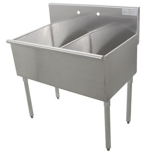 Advance Tabco 13242 Square Corner Two Compartment Kitchen Sink, 21 x 18 x 14 Bowls, 16/430 Stainless Steel, 36 Inches Sink sold by Mission Restaurant Supply