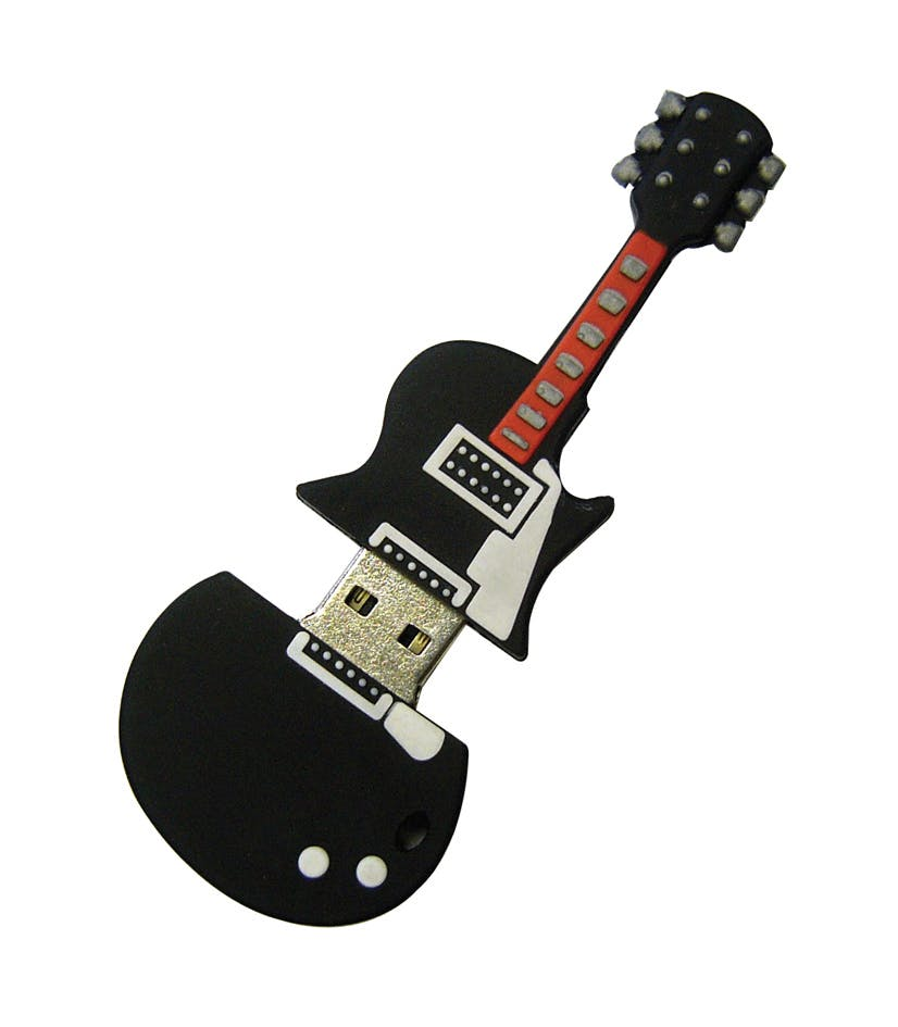 Custom Guitar USB Flash Drive (Item # FGFQU-HFYGR) Promotional flash drive sold by InkEasy