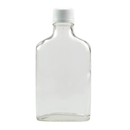 6.7 oz Clear Glass Flask Bottles (Optional Tamper Evident Cap) - sold by Freund Container & Supply
