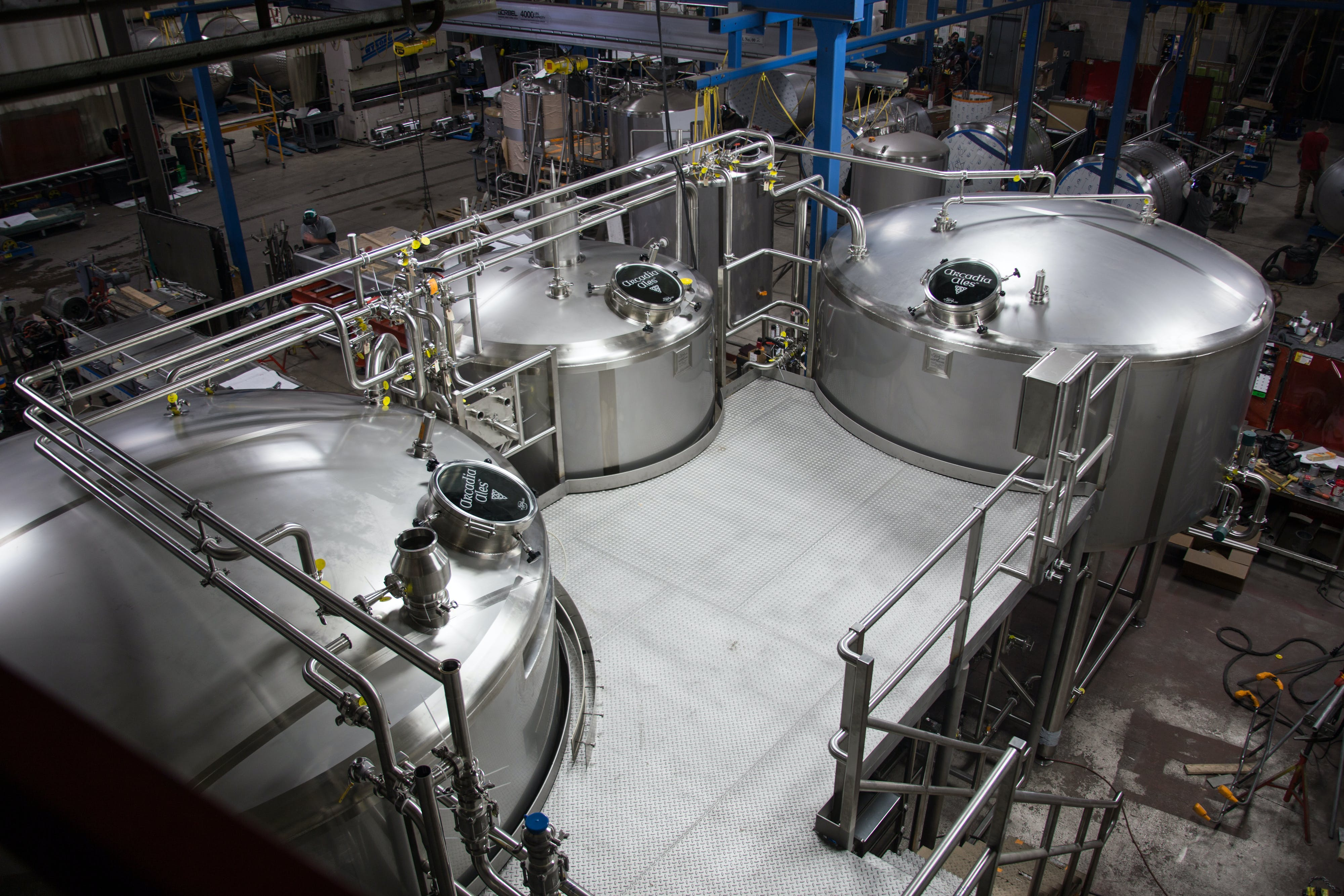 Platform view of 50BBL Brewhouse - 50 BBL Brewhouse - sold by W. M. Sprinkman