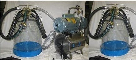 3/4 HP Mini-Milker milking machine for COWS with TWO 8 gal plastic bucket assembies Milking machine sold by Simple Milking Equipment
