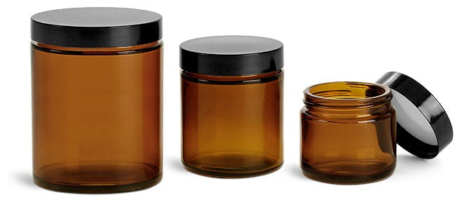 Amber Glass Straight Sided Jars w Black Phenolic Lined Caps Glass