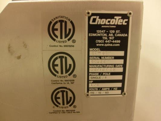 Chocotec model CT-60 Tempering & Molding machine Chocolate temperer sold by Union Standard Equipment Co