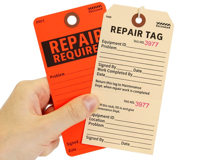 Repair Tags Name tag sold by Ameripak, Inc.