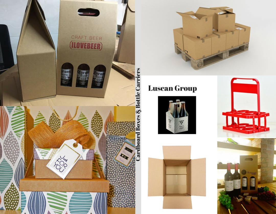 Cardboard Boxes & Bottle Carrier & Wooden Wine Boxes