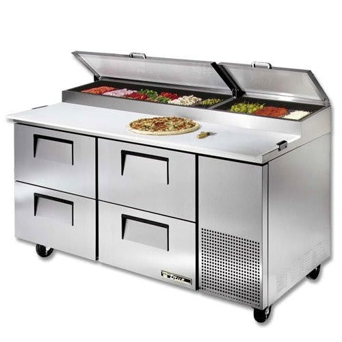 True Manufacturing TPP-67D-4 Pizza Prep Table, 4 Drawers, 67-1/4 Inch Wide Food prep table sold by Mission Restaurant Supply