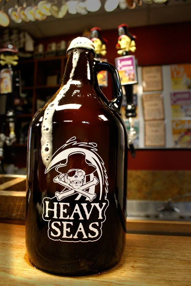 32 oz. Handled Amber Growler Growler sold by Atlantic Custom Solutions