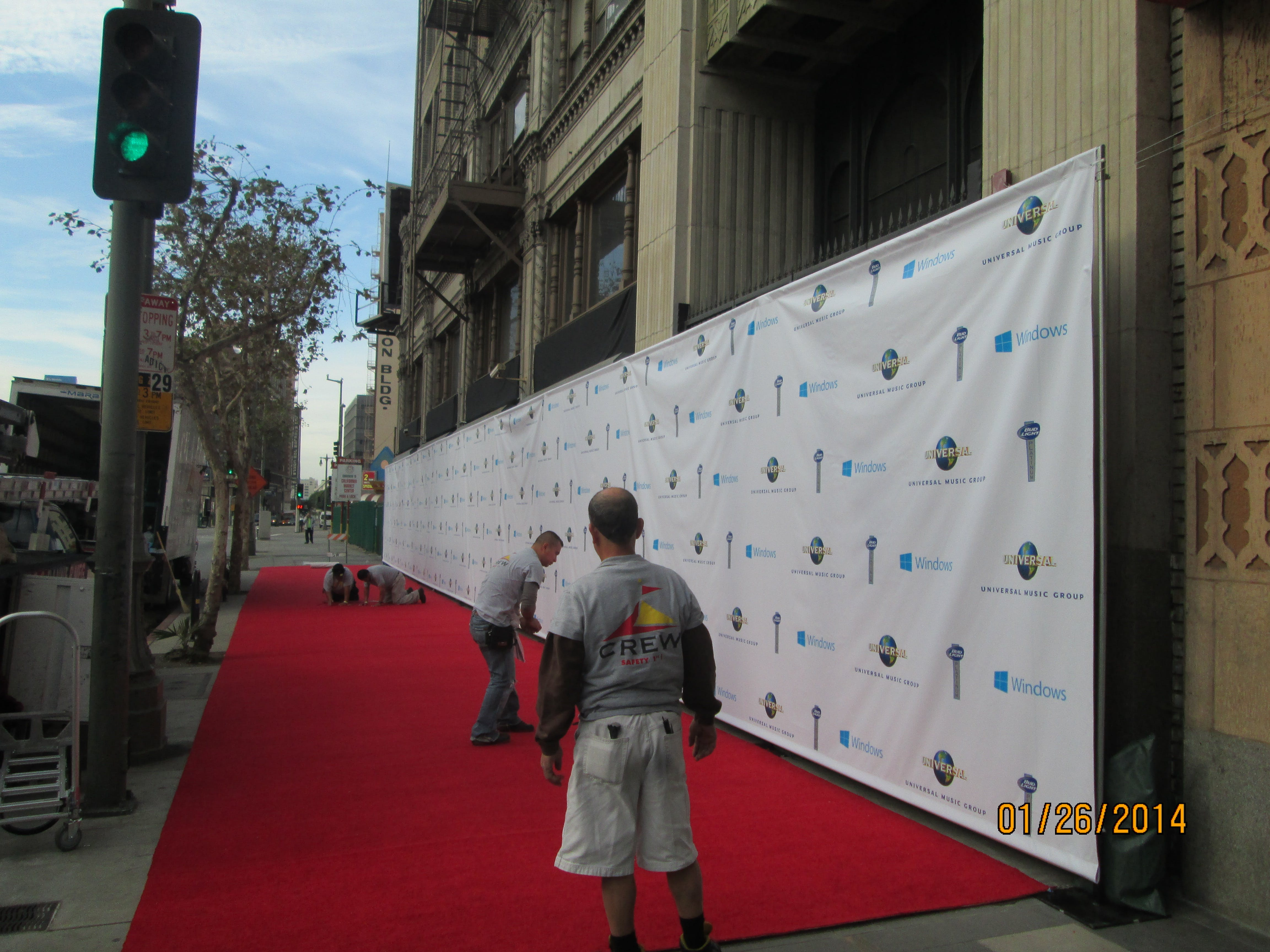 100' VINYL PRESS WALL FOR THE GRAMMY'S - VINYL BANNERS - sold by AAA FLAG & BANNER MFG. CO.