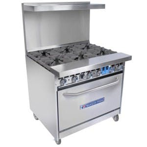 Bakers Pride 36-BP-6B-S30 - 6 Burner Gas Range - (1) Standard Oven Commercial range sold by Elite Restaurant Equipment