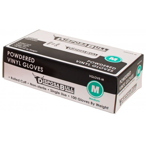 Medium Powdered Disposable Vinyl Gloves
