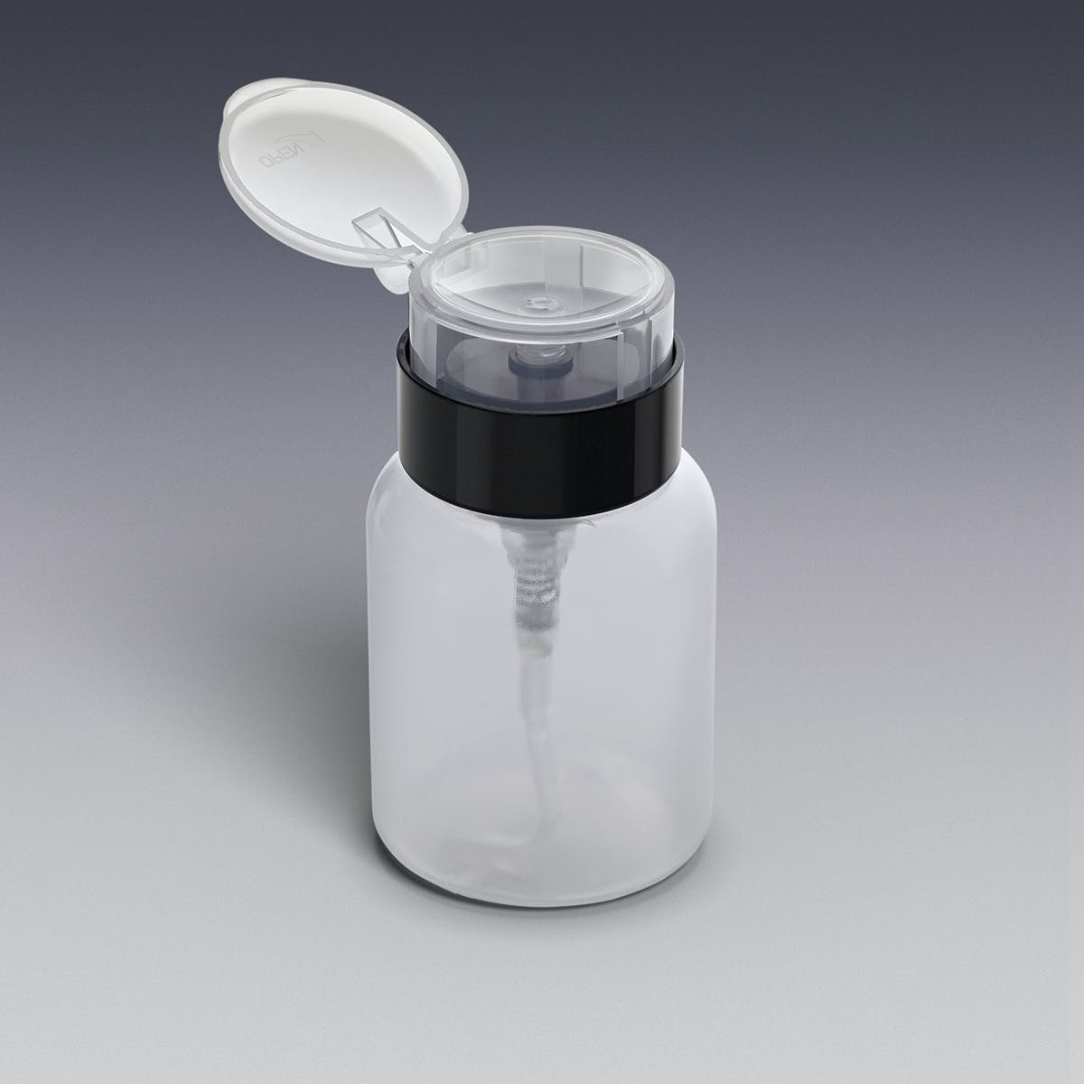 One-Touch Dispensing Bottle with Locking Flip Top Cap, Natural and Black Plastic bottle sold by Qosmedix