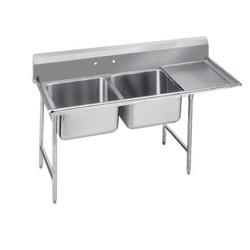 Advance Tabco 93-42-48-24R Regaline Two Compartment Sink, 24 x 24 x 12 Bowls, Right Drainboard, 16/304 S/S, 80 Inches Sink sold by Mission Restaurant Supply
