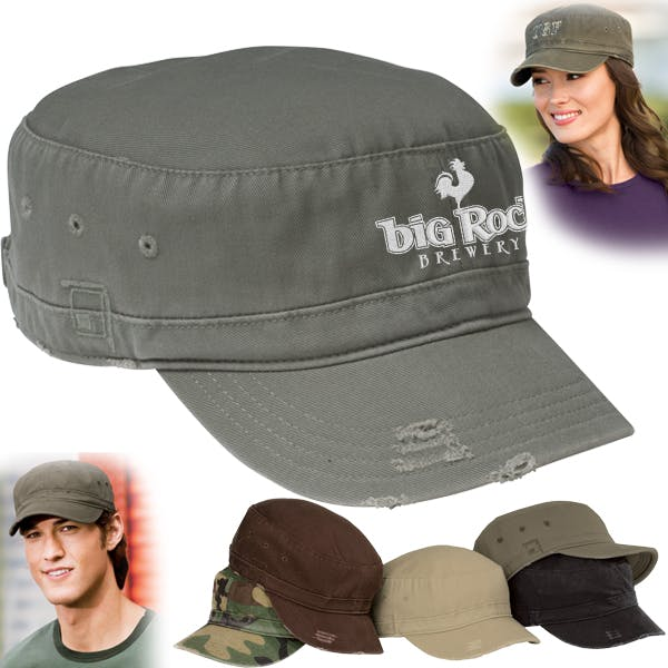 Distressed Military Hat Promotional cap sold by MicrobrewMarketing.com