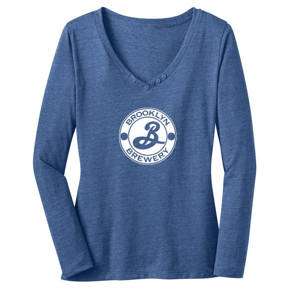 District Made - Ladies V-Neck w/ Button Detail LS Promotional shirt sold by MicrobrewMarketing.com