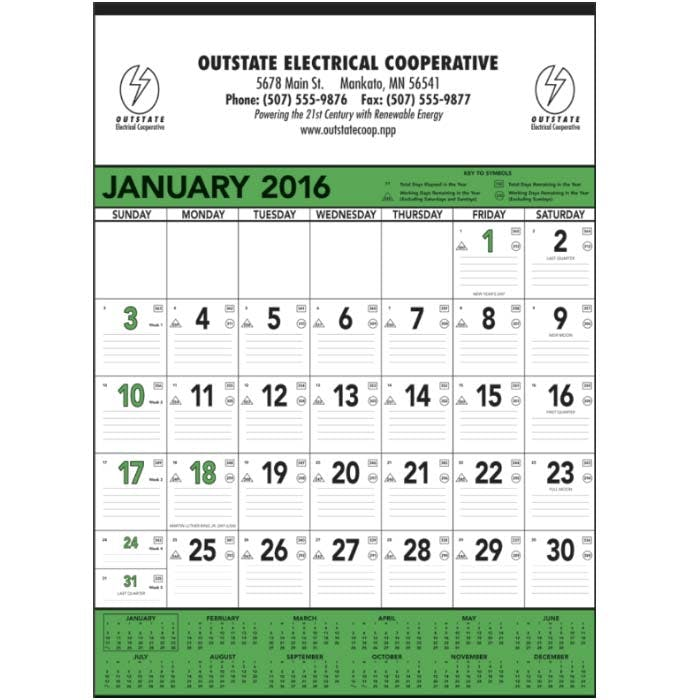 Norwood Promotional Products :: Product :: Green & Black Contractor's Memo (13-sheet) Custom calendar sold by Distrimatics, USA