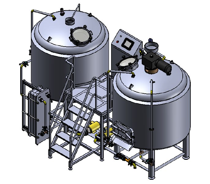 20 BBL Brewhouse - 2 Vessels - Steam Brewhouse sold by TD Tanks, LLC