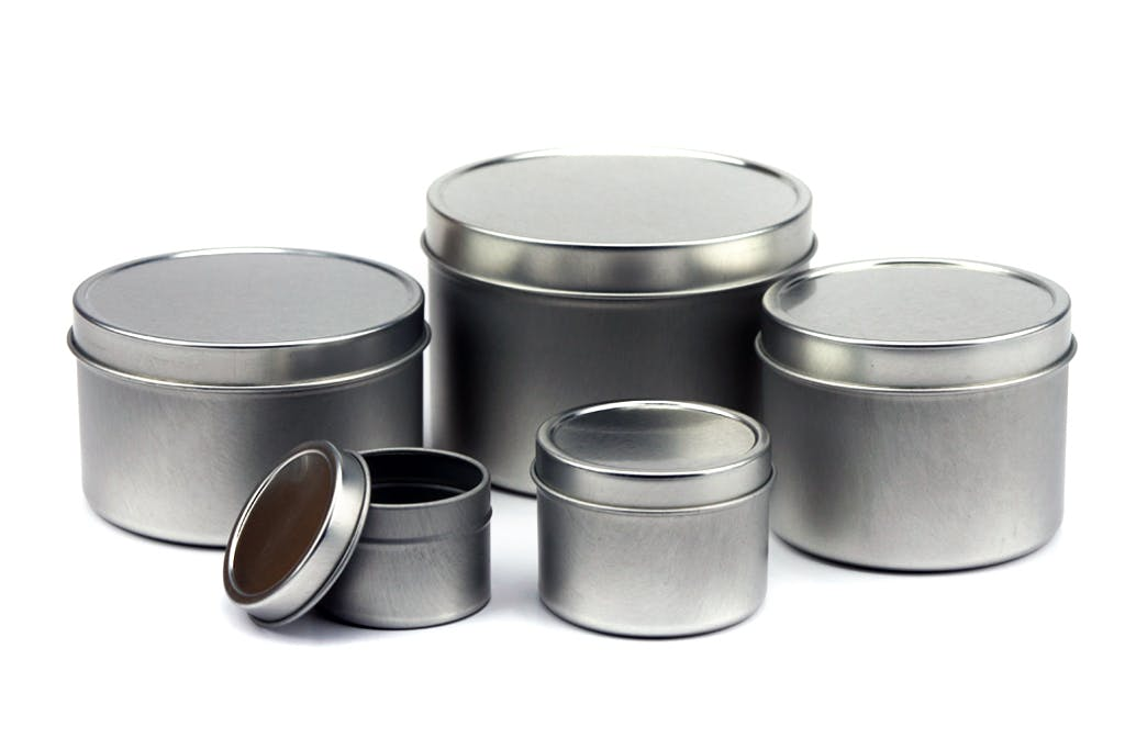 Deep Seamless Solid Lid Tin Can - Silver Metal tins sold by Mimi Pack