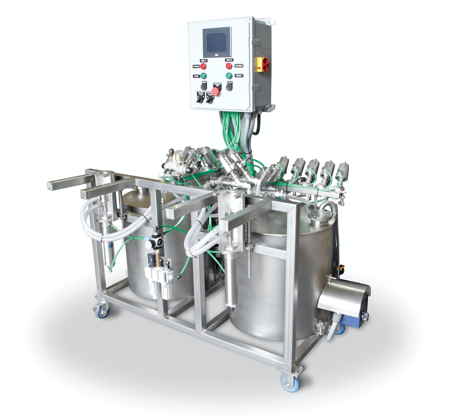 Control Panel includes a CPU that runs the cleaning programs for both sides. - GSS Semi-Automatic Keg Washer — Dual Head - sold by Global Stainless Systems Inc.