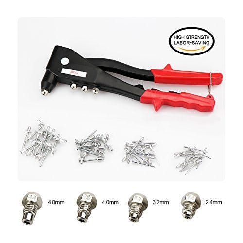 Professional Pop Rivet Gun Kit with 60 Metal Rivets and Wrench, Contractor Grade Riveter, Hand Repair Tools Riveter, Heavy Duty Hand Riveter Set for Sheet Metal, Automotive and Duct Work - sold by Meilestone