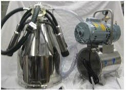 Complete Mini-Milker Milking Machine - 3/4 HP Mini-Milker milking machine for COWS with ONE 7.5 gal Stainless bucket assembly to Milk ONE Cow at a time - sold by Simple Milking Equipment