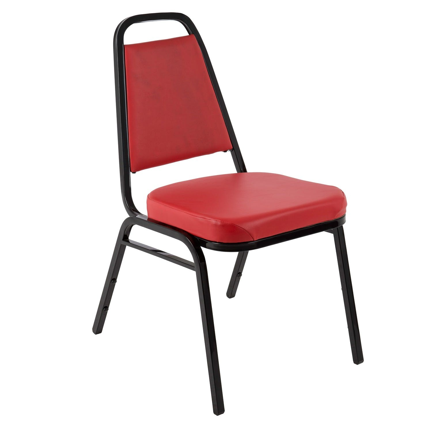 Jaxpro SCRED | Metal Stacking Chair w/ Red Vinyl Seat Restaurant chair sold by Mission Restaurant Supply
