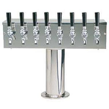 Stainless Steel Eight Faucet T-Style Draft Tower - 4 Inch Column - Glycol Cooled Draft beer tower sold by Beverage Factory