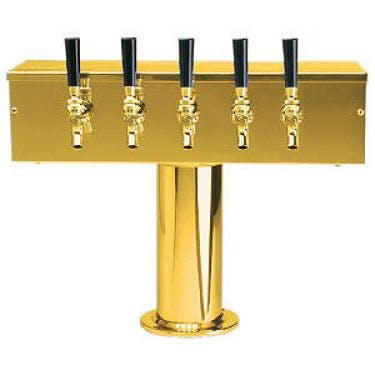 PVD Brass Five Faucet T-Style Draft Tower - 4 Inch Column Draft beer tower sold by Beverage Factory
