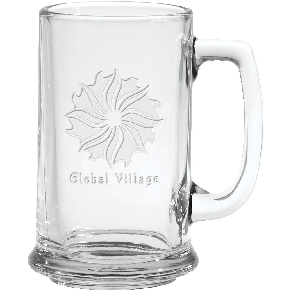 15 oz Glass Tankard Mug- Etched
