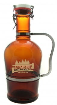 67.6 oz Amber Growler with Stainless Handle Growler sold by Prestige Glassware