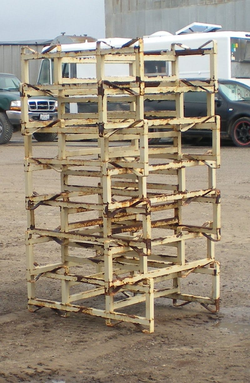 """7"""" racks- rough condition - Used 7"""" double bar, two barrel racks - sold by Quality Wine Barrels"""