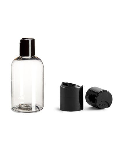 4 oz Clear PET Boston Round Plastic Bottle w/ Black Disc Cap Plastic bottle sold by PremiumVials