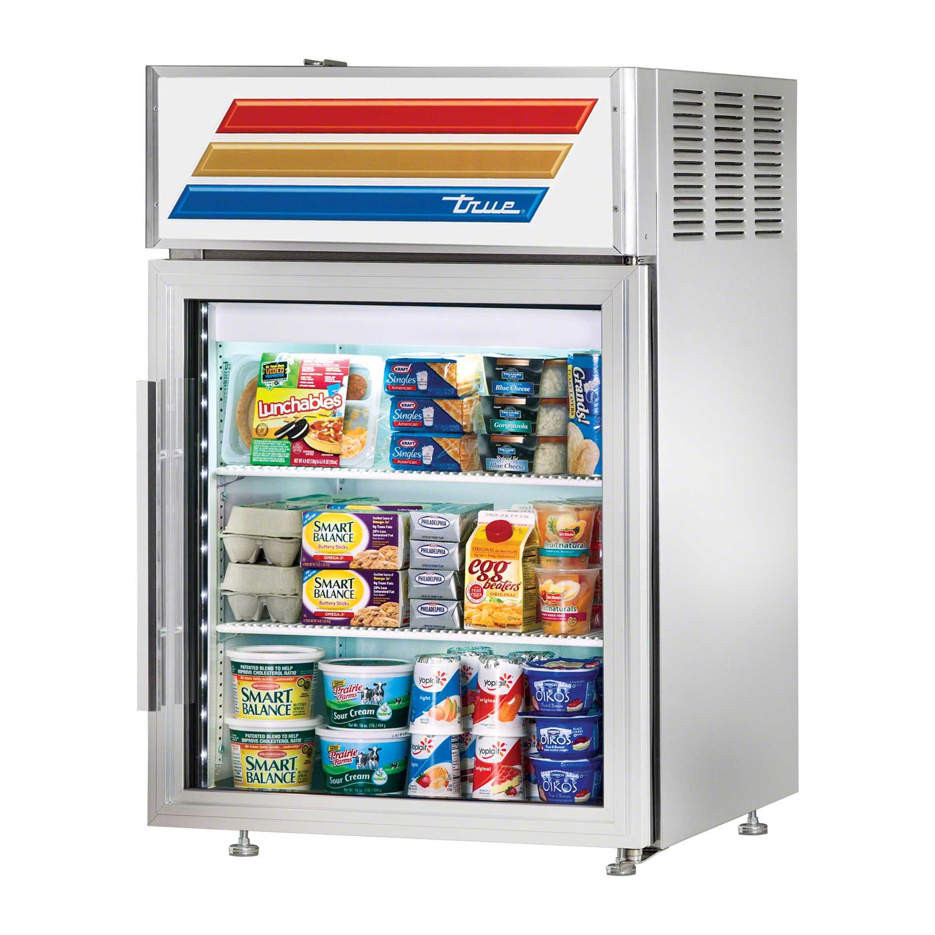 "True - GDM-5PT-S-LD 24"" Swing Door Countertop Merchandiser Refrigerator LED Commercial refrigerator sold by Food Service Warehouse"