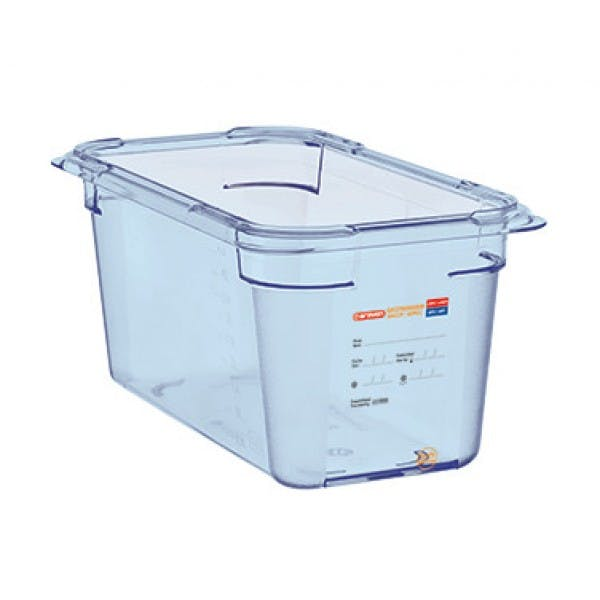 5.7 qt. 1/3 Size Translucent Blue Airtight Food Storage Container