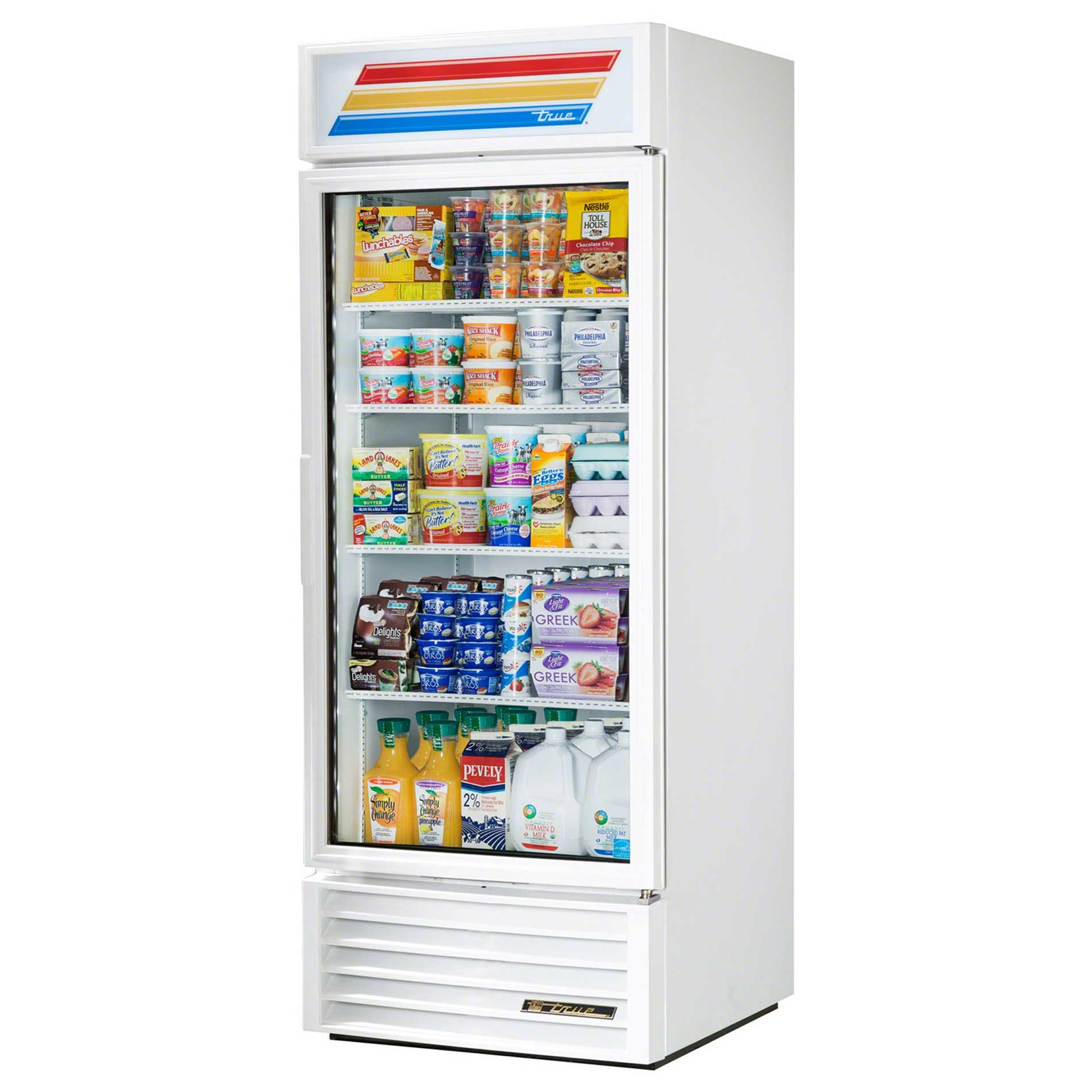 "True - GDM-26-LD WHT WHTTRM 30"" Swing Glass Door Merchandiser Refrigerator LED Commercial refrigerator sold by Food Service Warehouse"