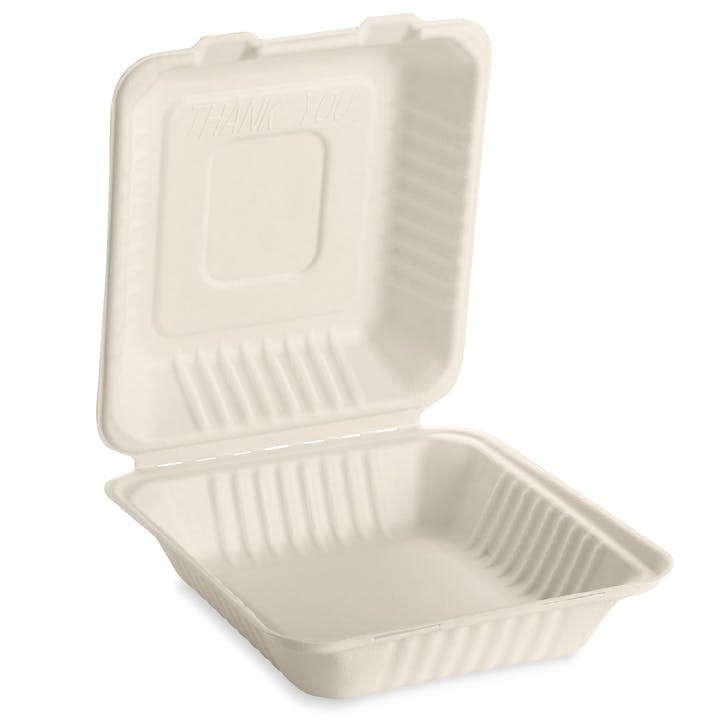 "8"" x 8"" Tree-free, compostable hinged take-out containers Eco Friendly Take Out Container sold by Emerald Brand"