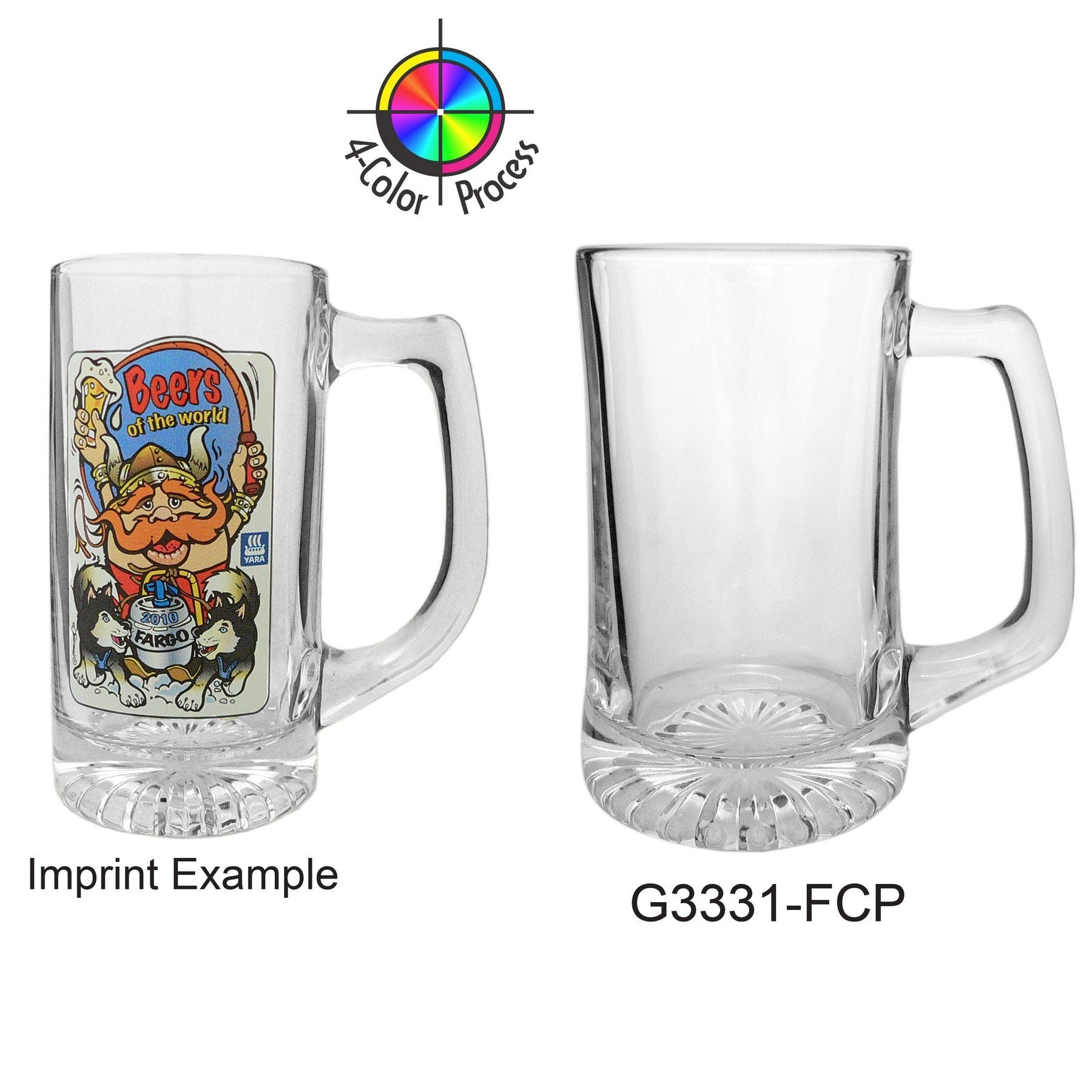 15 oz Clear Glass Sport Beer Mug (4 Color Process)