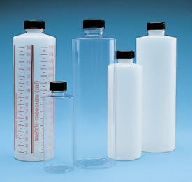 Cylinder Bottles With Caps Plastic bottle sold by Consolidated Plastics