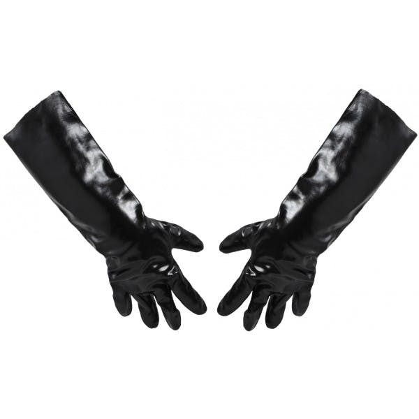 "Pair of 18"" Large Black PVC Lined Glove"